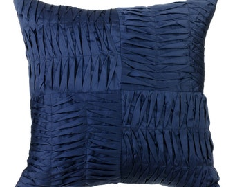 Navy Blue Pintuck Couch Sofa Cushion Covers 16 x 16 Pillow Covers Taffeta Textured Decorative Pillows - Navy Will Find You