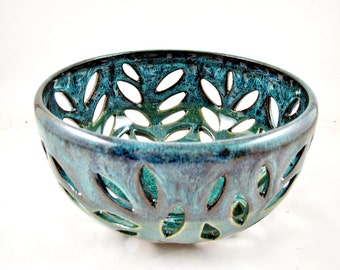 Ready to ship Pottery fruit bowl, Modern ceramics, teal blue lace bowl- In stock