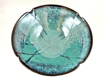 Pottery serving bowl, poppy bowl, stoneware decorative bowl, handmade pottery gift, something blue wedding gift - In stock