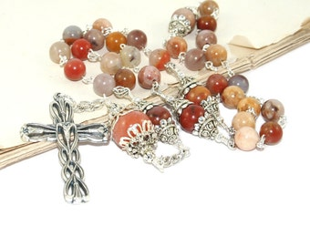 Anglican Rosary Prayer Beads, New Zealand Made with Agate Beads