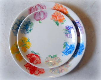Tiffany & Co  2 pc Plate Set - Cake Plate - Pastry Plate - Breakfast at Tiffany's - Blossom - Blue, Yellow, Pink, Purple, Red Spring Flowers