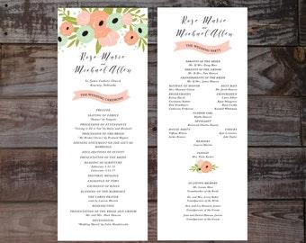 Wedding Programs, Wedding Ceremony Programs, Floral Wedding Programs, Watercolor Wedding Programs, Vintage Wedding Program, Modern Program