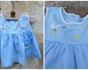 Vintage  1960/60s French blue cotton embroidered baby  dress  / size 1 year