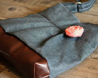 Conceal Carry Purse, Medium Messenger Bag, Charcoal Grey Purse, Conceal Carry Handbag, Concealed Carry Purse, Conceal and Carry