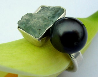 Ring Tahitian Pearl Raw Aquamarine  Open ring by Marc Gounard Sausalito CA Sterling Silver Recycled Silver