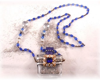 Perfume Bottle Necklace Blue Beauty