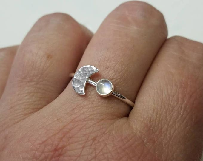 Rainbow Moonstone Ring in Sterling Silver Crescent Moon Ring