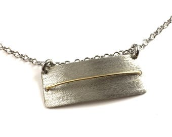 Handmade Bar Necklace Mixed Metal Pendant