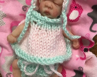 Hand crocheted/knitted dress diaper cover bonnet for 5-6 inch doll