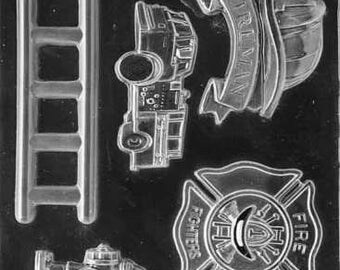 Firefighter Fire Truck Silicone Soap, Ice, Crayon, Candy or Chocolate Mold Baking Craft Supplies Jenuine Crafts