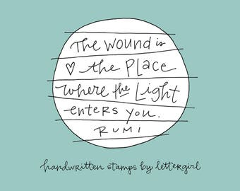 Rumi Stamp: Handwritten Quotation, Encouragement or Sympathy Card