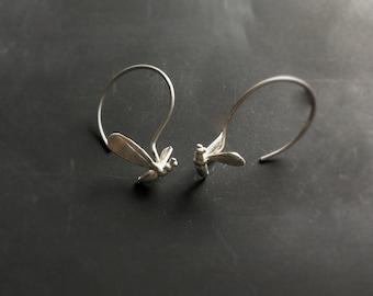 Bee earrings -Sterling silver bee hoop earrings -Insect delicate earrings-Animal jewelry-Gift for her under 55