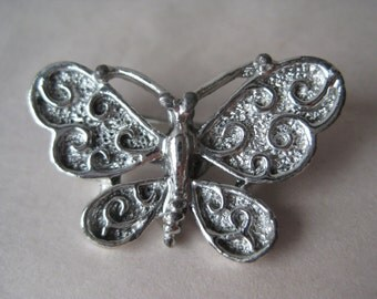 Butterfly Silver Brooch Vintage Pin Gerry's