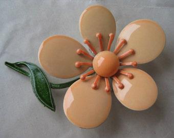 Flower Peach Orange Brooch Enamel Vintage Pin
