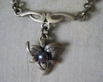 Purple Pearl Flower Silver Necklace Cultured Vintage Pendant
