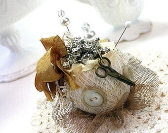vintage style pincushion-VINTAGE RHINESTONE-altered art spool pincushion