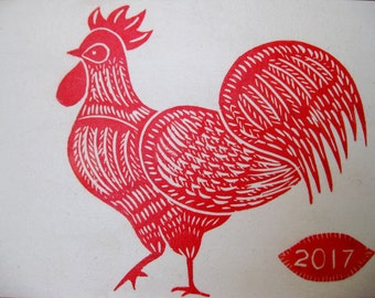 Year of the Rooster, Original Block Print
