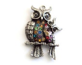 """Antique Silver Mama and Baby Owl Magnet, Pendant magnet, 1 5/8"""", Handmade Magnet, Home Decor, Stocking Stuffer"""