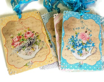 8 Gift Tags, Tea Time, Teacups Flowers, Blue Pink Cream White Merchandise Tags, Party Favor Tags