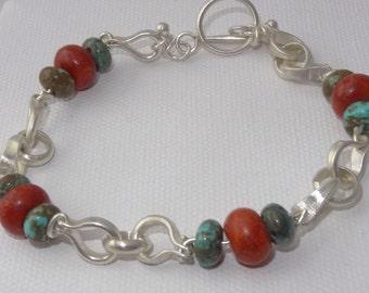 Solid Sterling Silver, Dyed Howlite and Sponge Coral Bracelet, Handmade