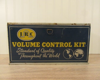 Vintage metal IRC Volume Control Kit- advertising metal box- wall mountable, hinged lid, interior drawers and compartments- nice condition