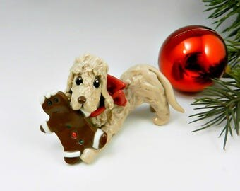 Bedlington Terrier Sandy Christmas Ornament Figurine Gingerbreadman Porcelain