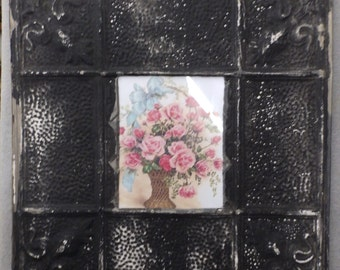 TIN CEILING Black Picture Frame 8x10 Shabby Recycled chic 545-16