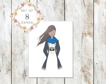 Set of 8 Portrait Stationery - Cotton Stationery - Camera Girl - Photographer Stationery - Trendy Style