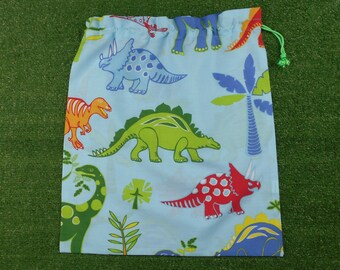 Dinosaurs drawstring bag, large bag for library or toys, boys storage bag