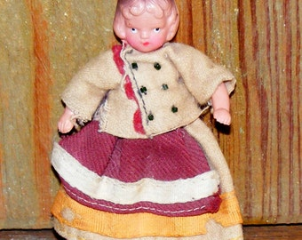 Vintage Celluloid Dollhouse Doll French Girl