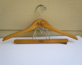 Vintage Setwell suit and pants hanger, wooden Setwell coat and pants hanger