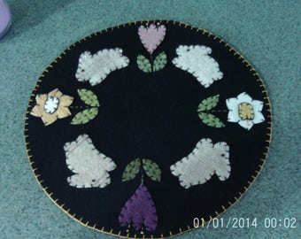 Penny Rug Candle Mat Bunnies and Spring Flowers 12 inch