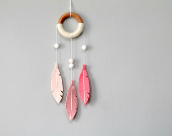 Modern Nursery Dream Catcher Wall Hanging. Boho Chic Dreamcatcher. Felt Dreamcatcher. Coral Ombre Decor for Baby Girl. by Ordinary Mommy