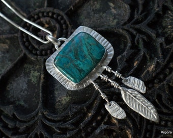 big silver necklace blue gemstone Chrysocolla feathers ferns eco reycled silver PMC OOAK