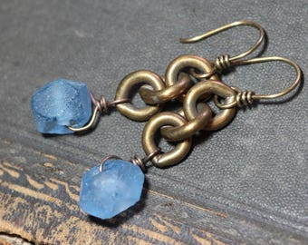 Brass Chain Blue Glass Earrings Recycled African Glass Bead Brass Chain Earrings