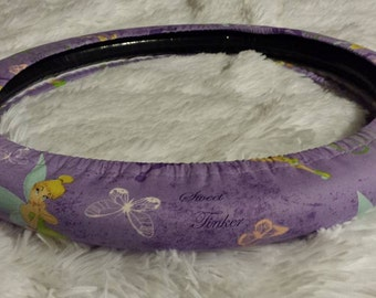 Iconic Tinkerbell *  Steering Wheel Cover * Seat Belt Cover * Purple Fairy Wings