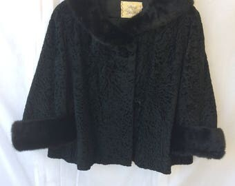 1960's Shaved Black Persian Lamb 3/4 Sleeve Jacket