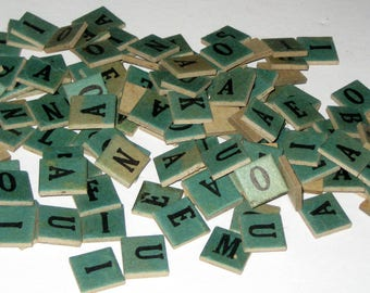135 Vintage Anagrams  - Faded Turquoise Chipboard Letters for Altered Art, Collage, Scrapbooking, Assemblage, etc.