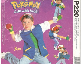 McCalls 3002 P220 Child POKEMON Costume Pattern ASH KETCHUM Nintendo Gotta Catch m All Boys Girls Sewing Size 4 5-6 Chst 23- 28 or 4 5-6 7-8