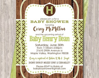 Brown & Green Shower Invite, Baby Boy Camo colors 5x7 printable or printed