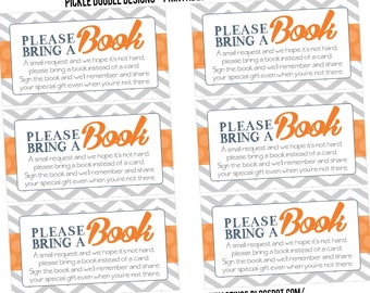 Book Inserts Navy Gray & Orange Baby Boy Shower matching, Printable INSTANT DOWNLOAD