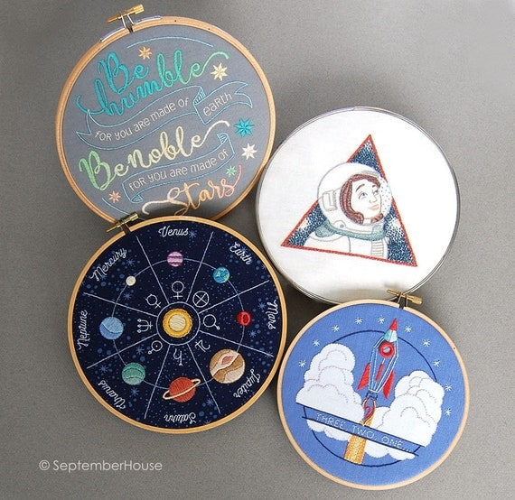 Hand embroidery patterns solar flair space themed for Space embroidery patterns