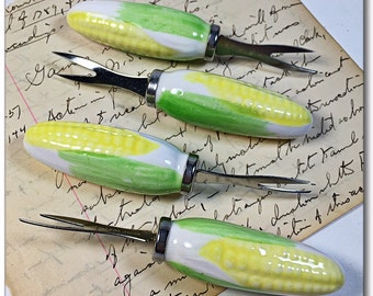 Ceramic Corn on the cob spears holders vintage Japan Mid century