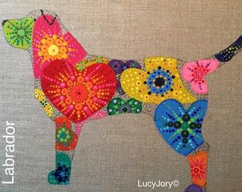 Labrador Art/ Labrador Retriever/ Lab Dog Art/ Linen/ Paint/ Dog Art