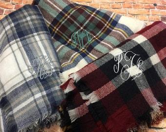 Monogram Plaid Blanket Scarf - Personalized Blanket Scarf | Teacher Gift | Blanket Scarves | Plaid Scarf | Tartan Scarf | Gift Under 20