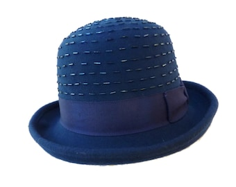 "Women's Wool Hat, Roll-up Brim, Bowler Style Hat, Adjustable Size Winter Hat, Monochromatic Royal Blue Hat with Beaded Crown - ""Blue Dazzle"""