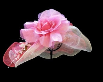 "Women's Kentucky Derby Hat, Wedding Guest Hat, Downton Abby Style Spring Fashion Easter Hat in Soft White and Fuchsia Pink - ""Royal Romance"""