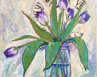 Tulip mixed media painting