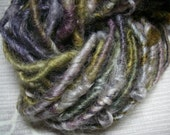 Handspun Soft Curly Textured Bulky Wool Art Yarn and Locks in Olive Green Gold Grape Purple by KnoxFarmFiber for Knit Weave Embellishment
