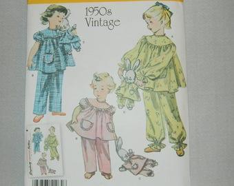 Uncut Simplicity Pattern 0474 - 1950's Vintage Pajamas and Stuffed Bunny with Matching Pajamas
